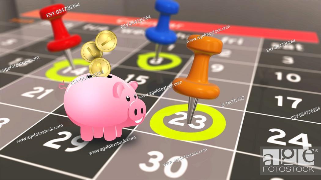 Stock Photo: Everyday financial budget. A calendar with a savings pig.