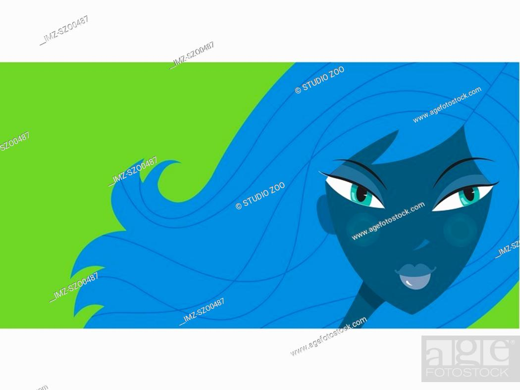 Stock Photo: A woman with blue flowing hair on a green backbround.