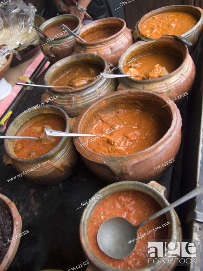 Stock Photo: Food, sauces and soups in a restraurant in Antigua, Guatemala.