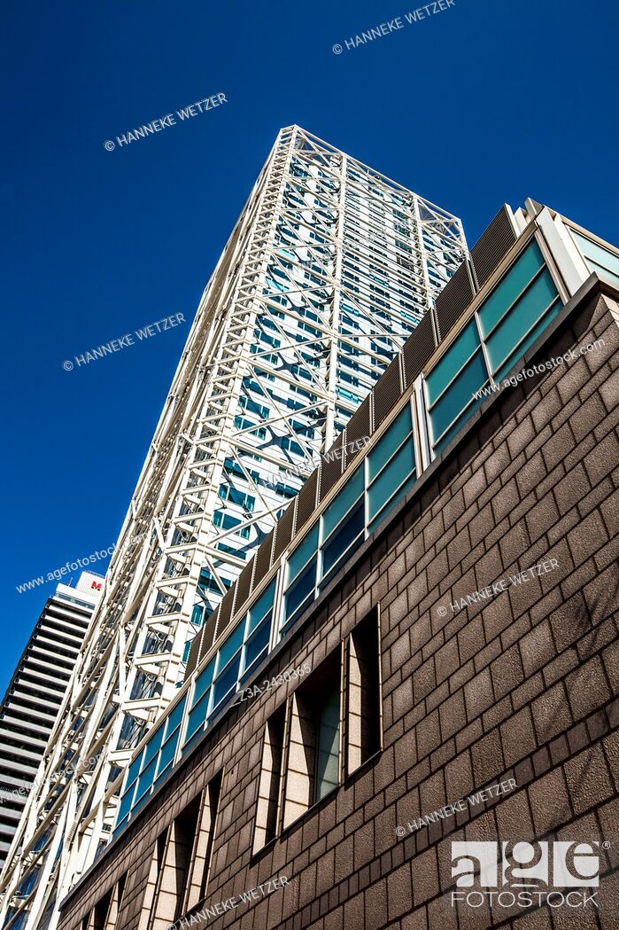 Stock Photo: Mapfre tower and Hotel Arts, Plaça dels Voluntaris, Barcelona. Catalonia, Spain.