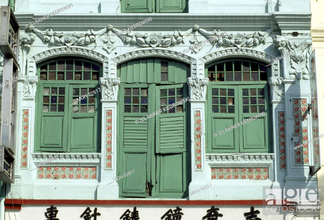 Stock Photo: Singapur, Chinatown, Jalan Besar/ Shophaus Architektur.