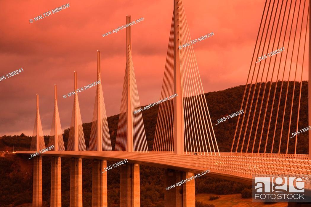 Stock Photo: France, Midi-Pyrenees Region, Aveyron Department, Millau, Millau Viaduct Bridge, dusk.