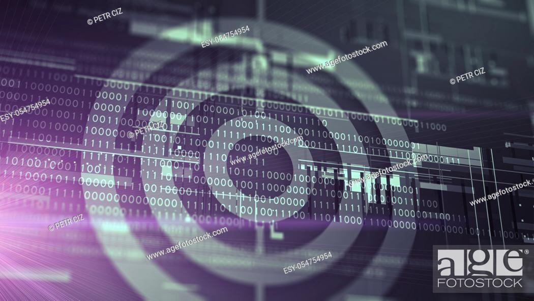 Stock Photo: Target with digital binary code abstract background.