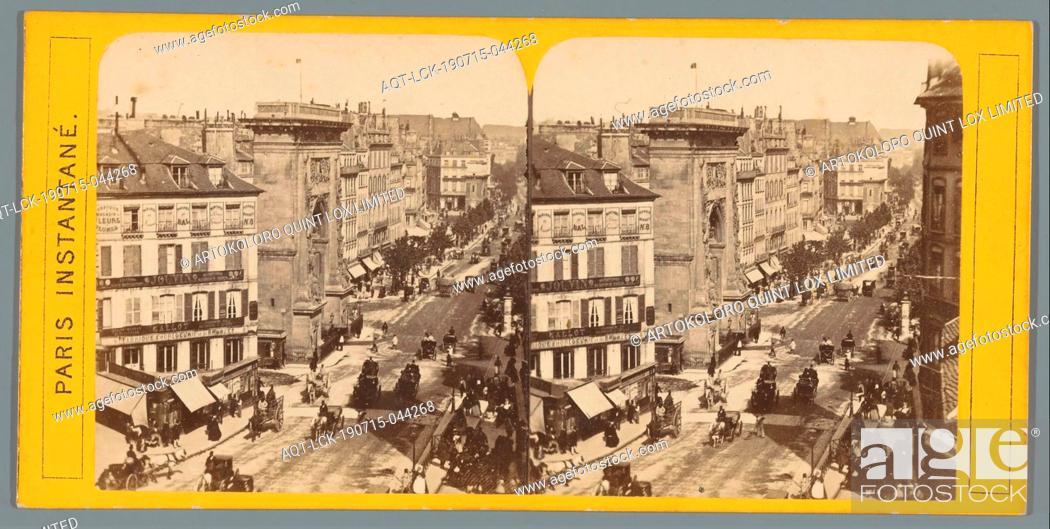 Imagen: View of Boulevard Saint-Denis and Porte Saint-Denis in Paris, Paris Instantane (series title on object), animal traction, animal-drawn vehicle (carriage etc.