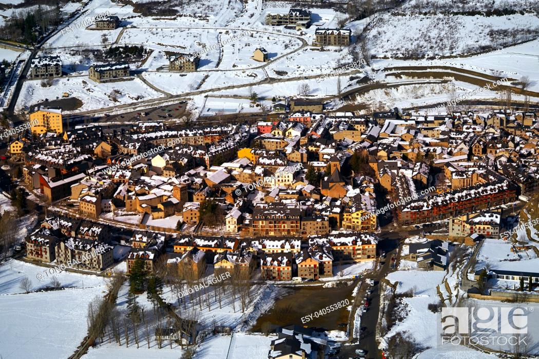 Stock Photo: Benasque village Benas aerial view in Huesca Pyrenees of Spain.
