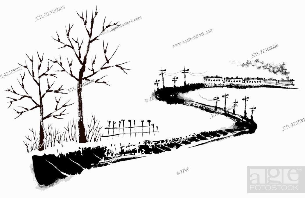 Stock Photo: Sketch of railroad on white background.