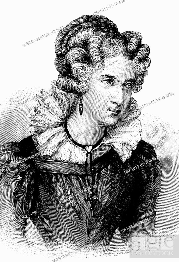 Stock Photo: Annette von droste-huelshoff, 1797 - 1848, aged 32, a german writer, historic wood engraving, about 1897.