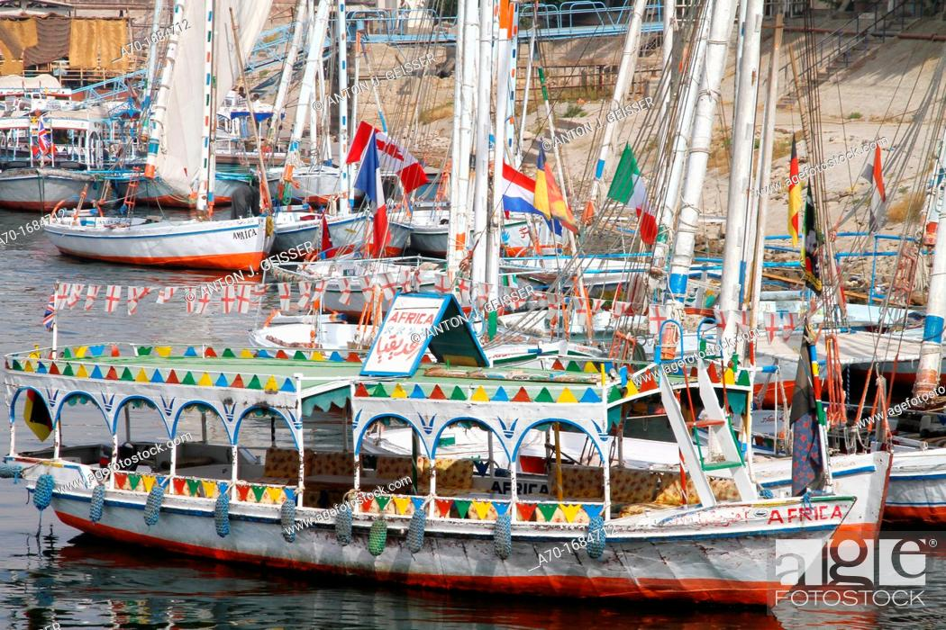 Stock Photo: Colorful ship , harbour , egyptian.