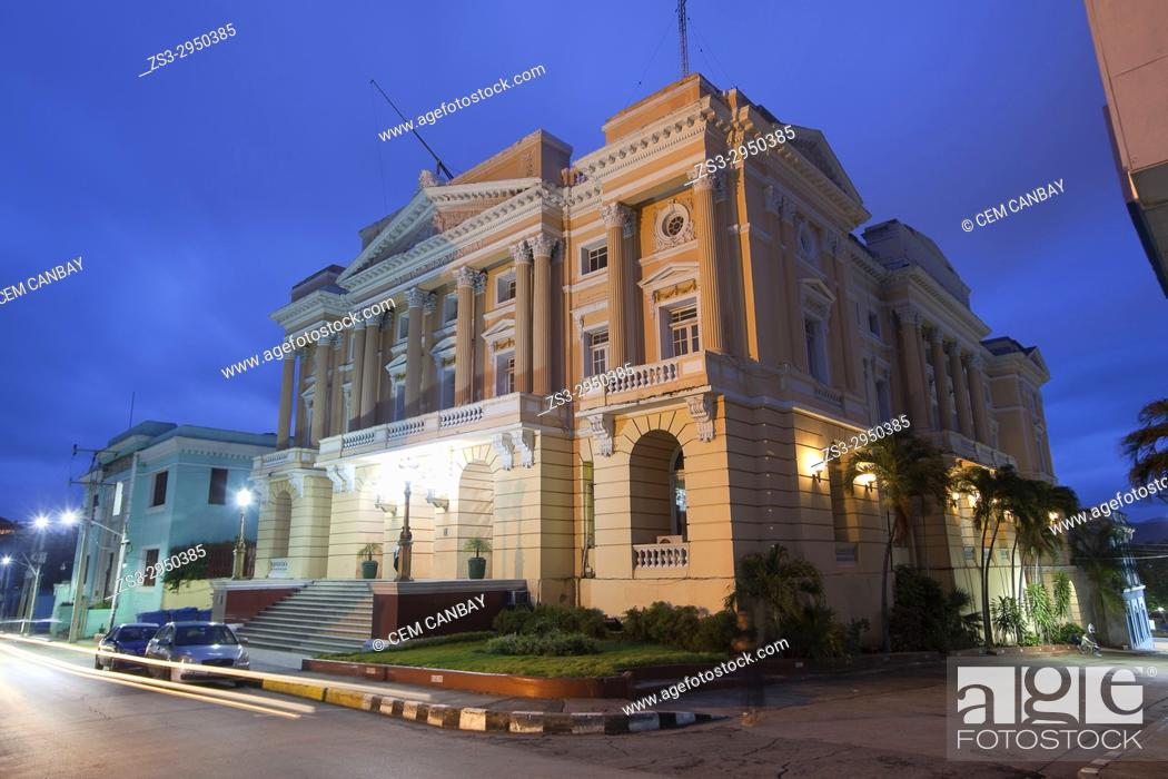 Stock Photo: View to the Palacio Provincial in the city center, Santiago de Cuba, Cuba, Central America.