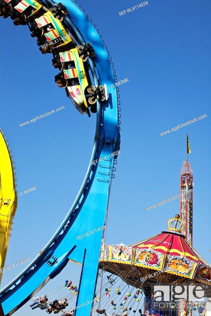 Stock Photo: Detail of rollercoaster at Oktoberfest, Munich, Germany.