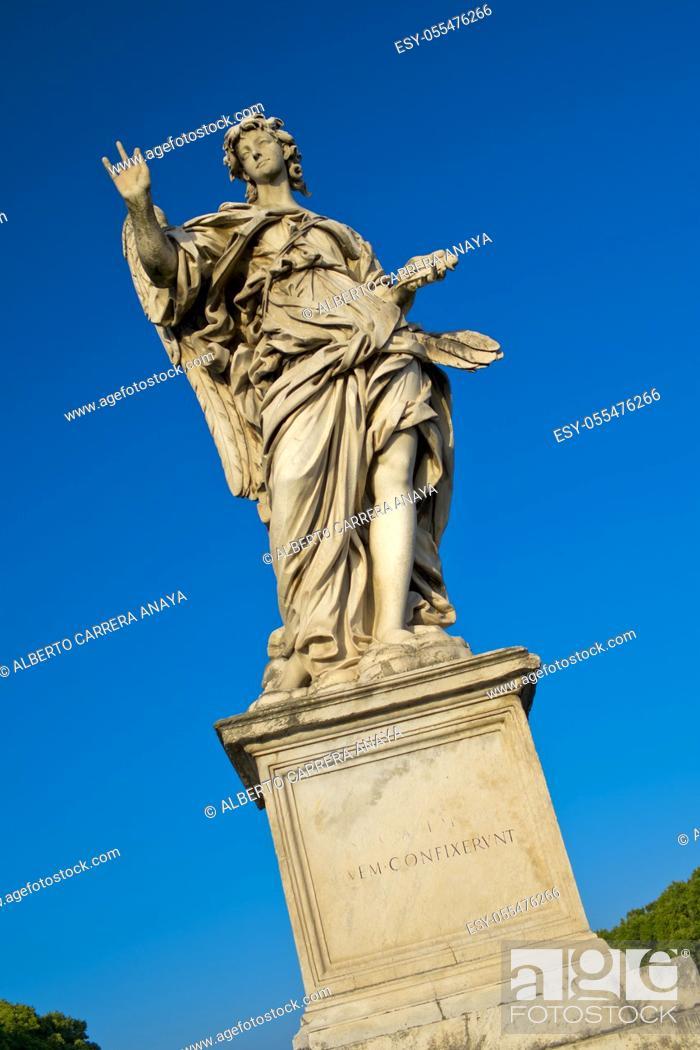 Stock Photo: Angel Sculpture, Aelian Bridge, Pons Aelius, Ponte Sant'Angelo, Rome, Lazio, Italy, Europe.
