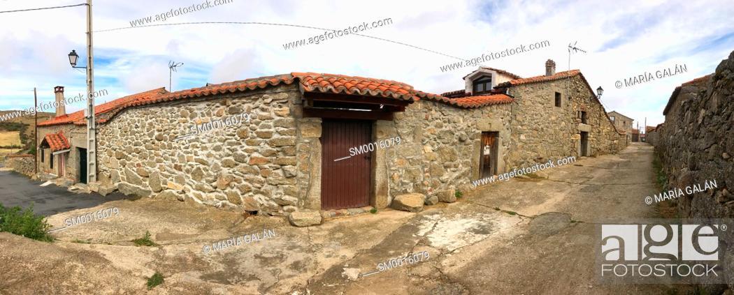 Stock Photo: Street, panoramic view. San Juan del Olmo, Avila province, Castilla Leon, Spain.