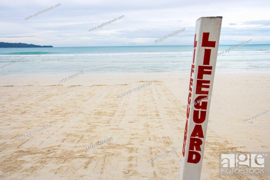 Stock Photo: Lifeguard written on pole at Boracay beach, Philippines.