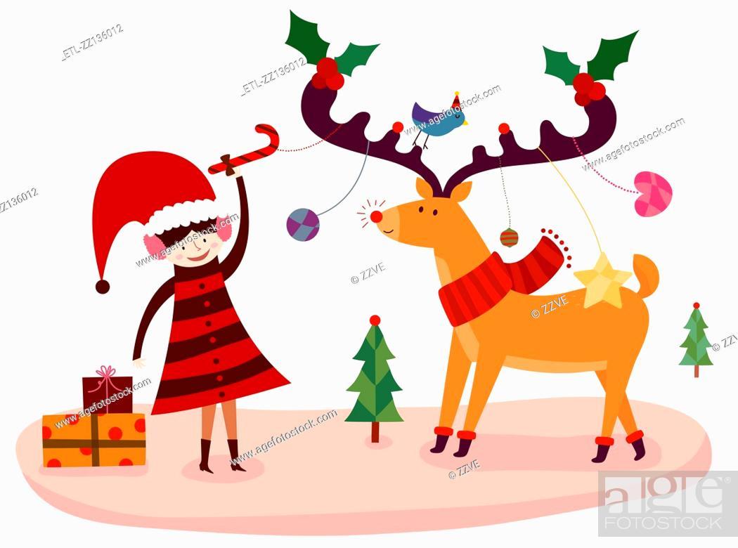 Stock Photo: Christmas Reindeer.