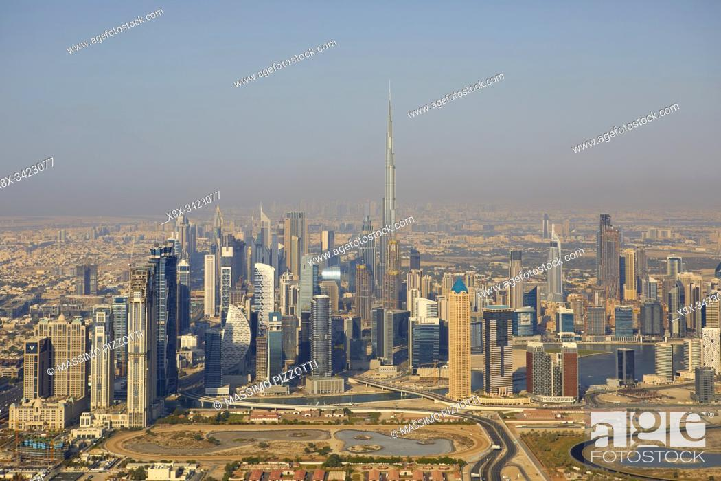 Stock Photo: Aerial view of the city with the Burj Khalifa seen from the helicopter, Dubai, United Arab Emirates.