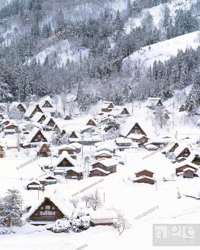 Stock Photo: landscape, mountain, scenery, houes, village, modern architecture, snow.
