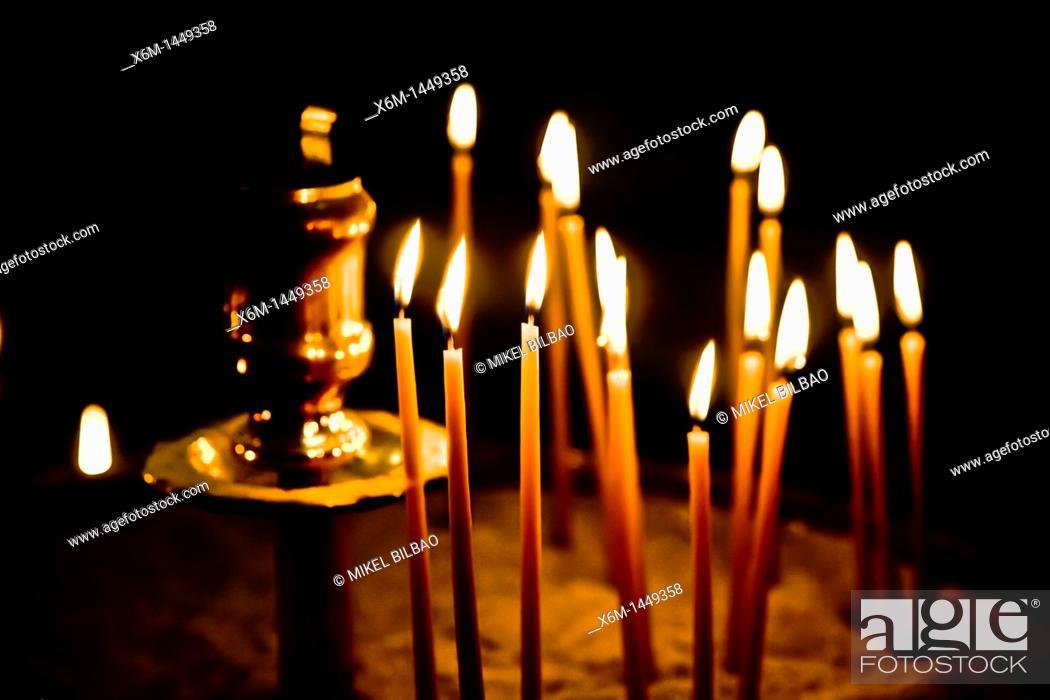Stock Photo: Candles in a church  Parikia village, Paros island, Cyclades islands, Aegean Sea, Greece, Europe.
