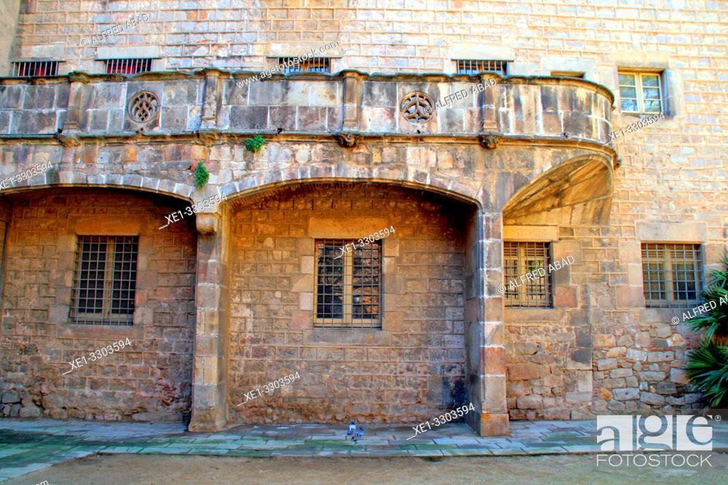 Stock Photo: building of the Santa Creu Hospital, Ciutat Vella, Barcelona, Catalonia, Spain.