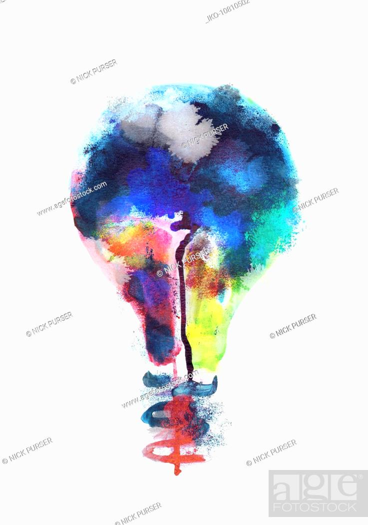 Stock Photo: Multi coloured light bulb.