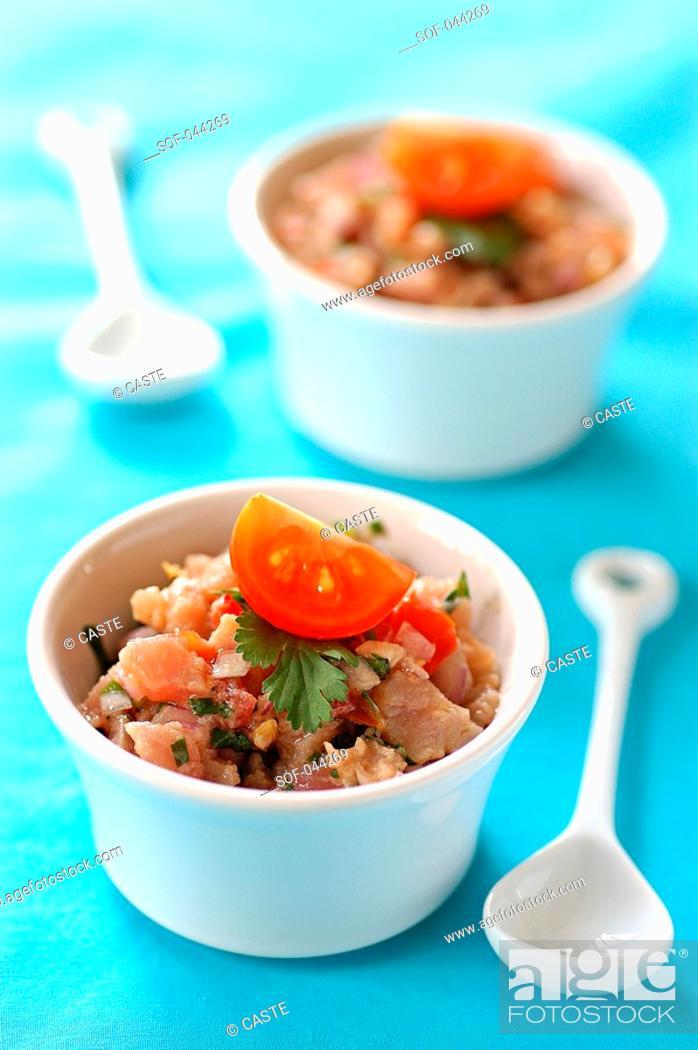 Stock Photo: spicy lime-marinated tuna tartare.