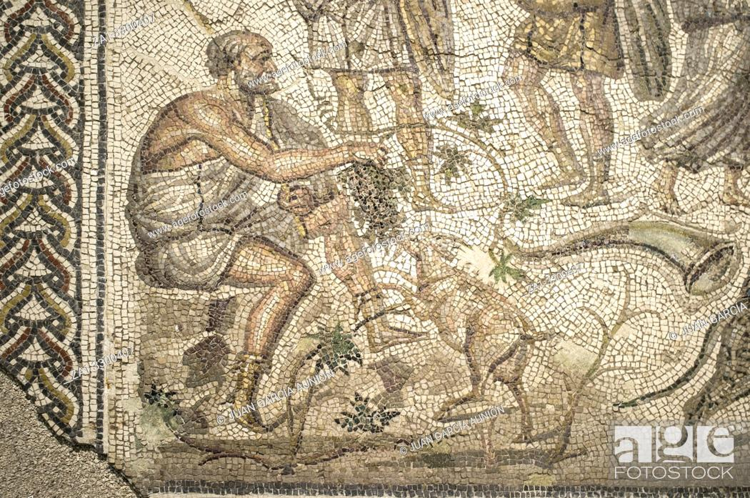 Photo de stock: Bacchic Mosaic of The Gift of Wine at Ecija History Museum, Spain. Man with goat detail.