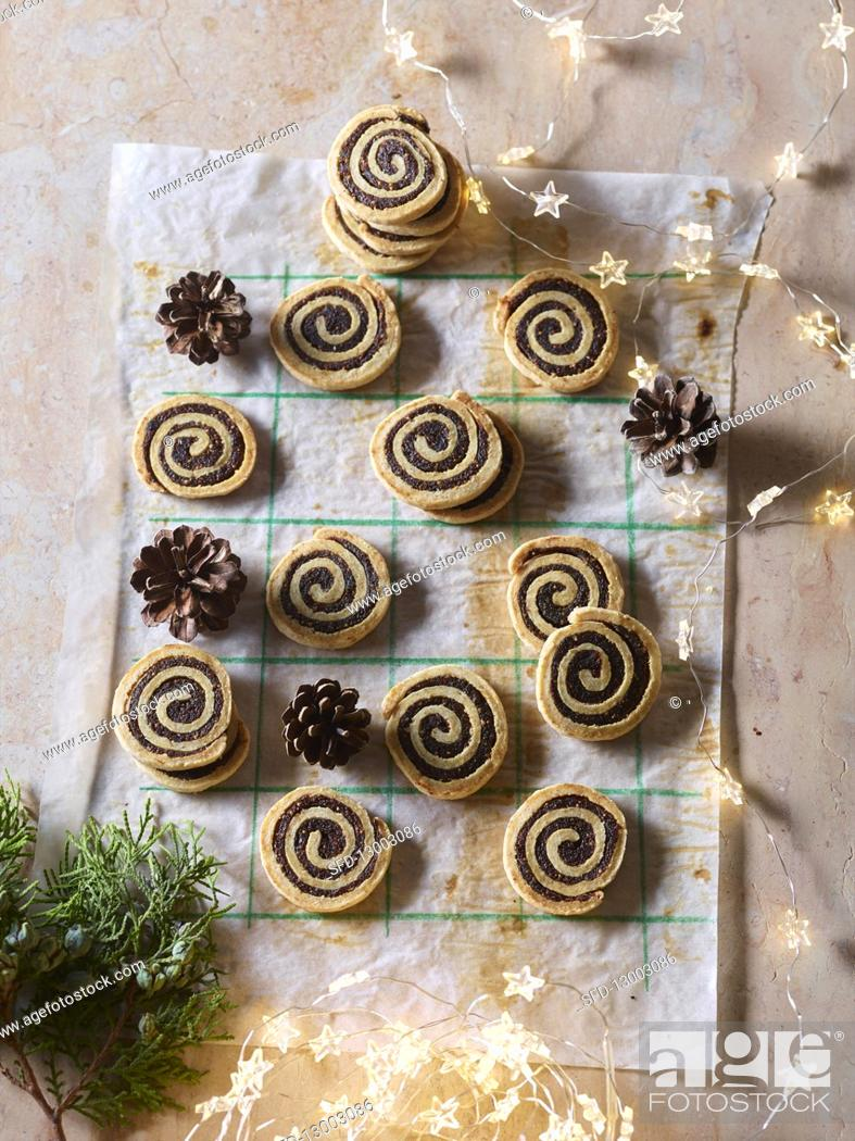Stock Photo: Fig and rosemary spirals.