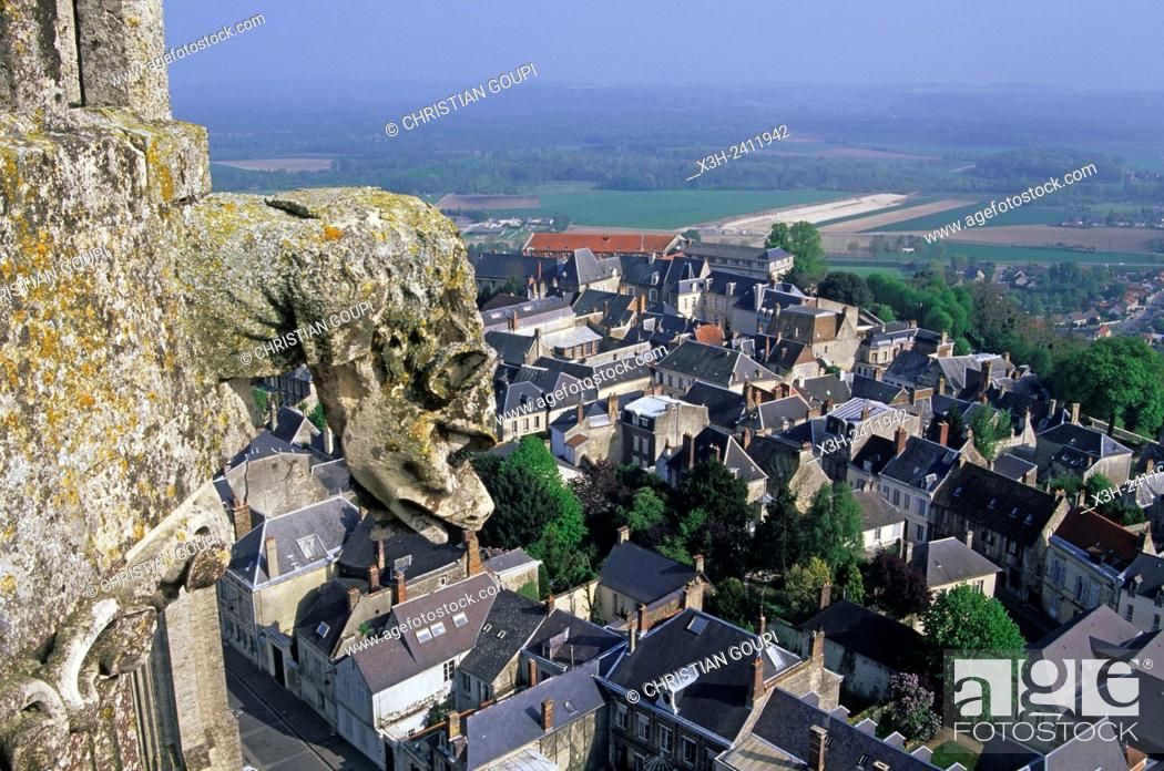Stock Photo: view over the old town from Cathedral's tower, Laon, Aisne department, Picardy region, northern France, Europe.