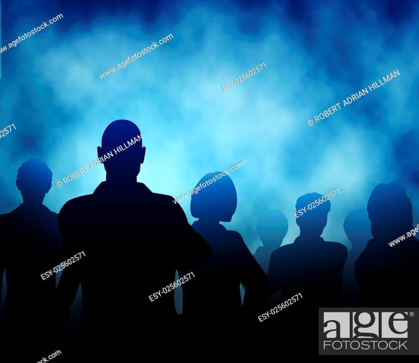Vector: Editable vector silhouettes of a business team with misty or smoky background made using a gradient mesh.
