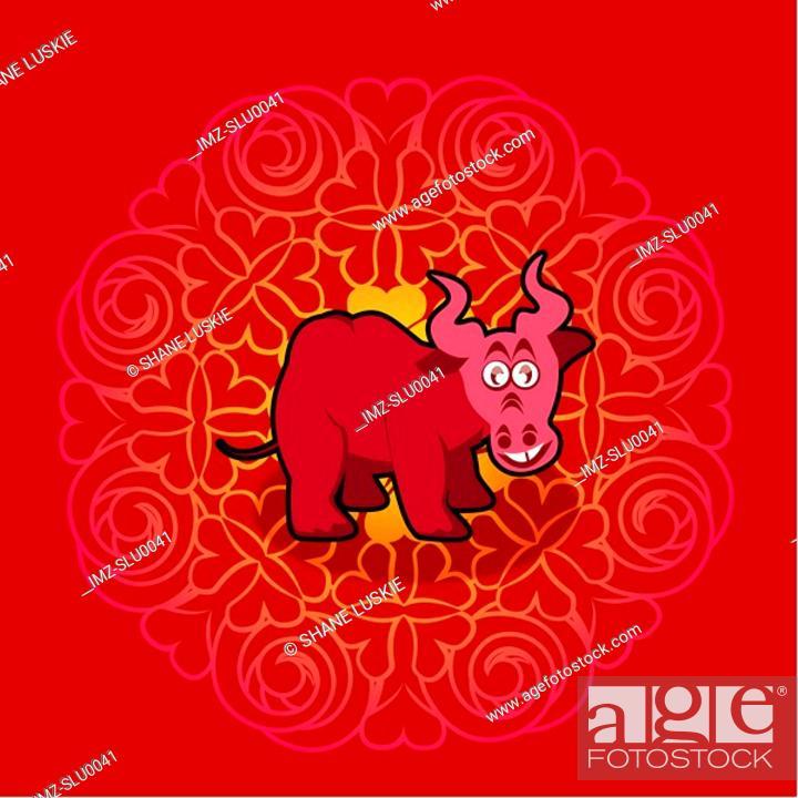 Stock Photo: Chinese new year symbol of bull.