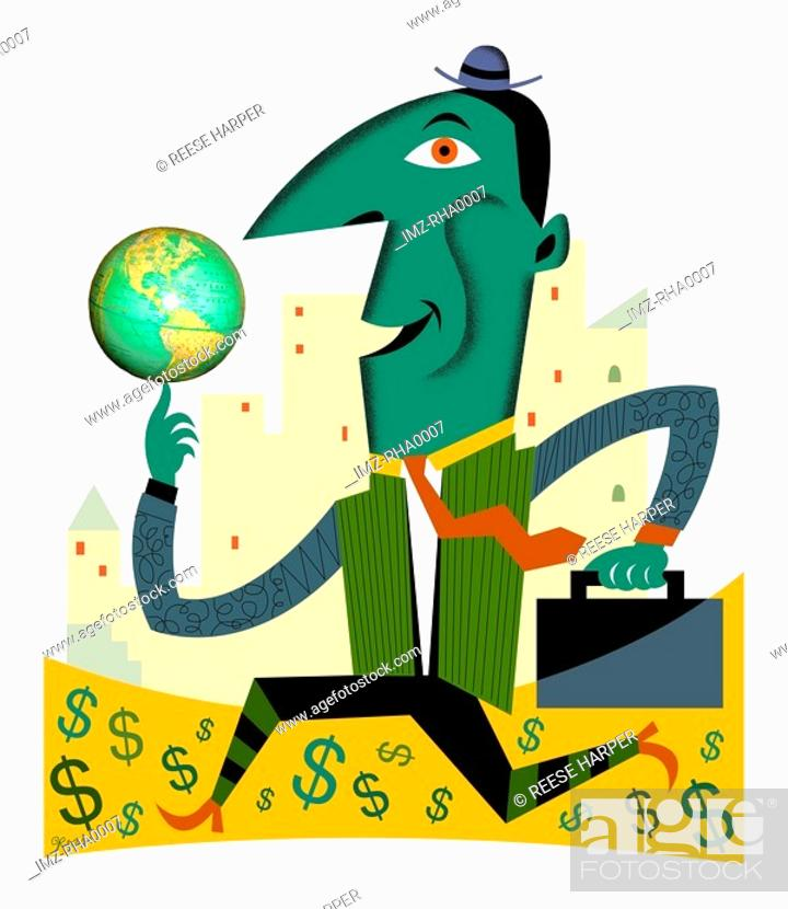 Stock Photo: A man balancing a globe and running on a road made of money.