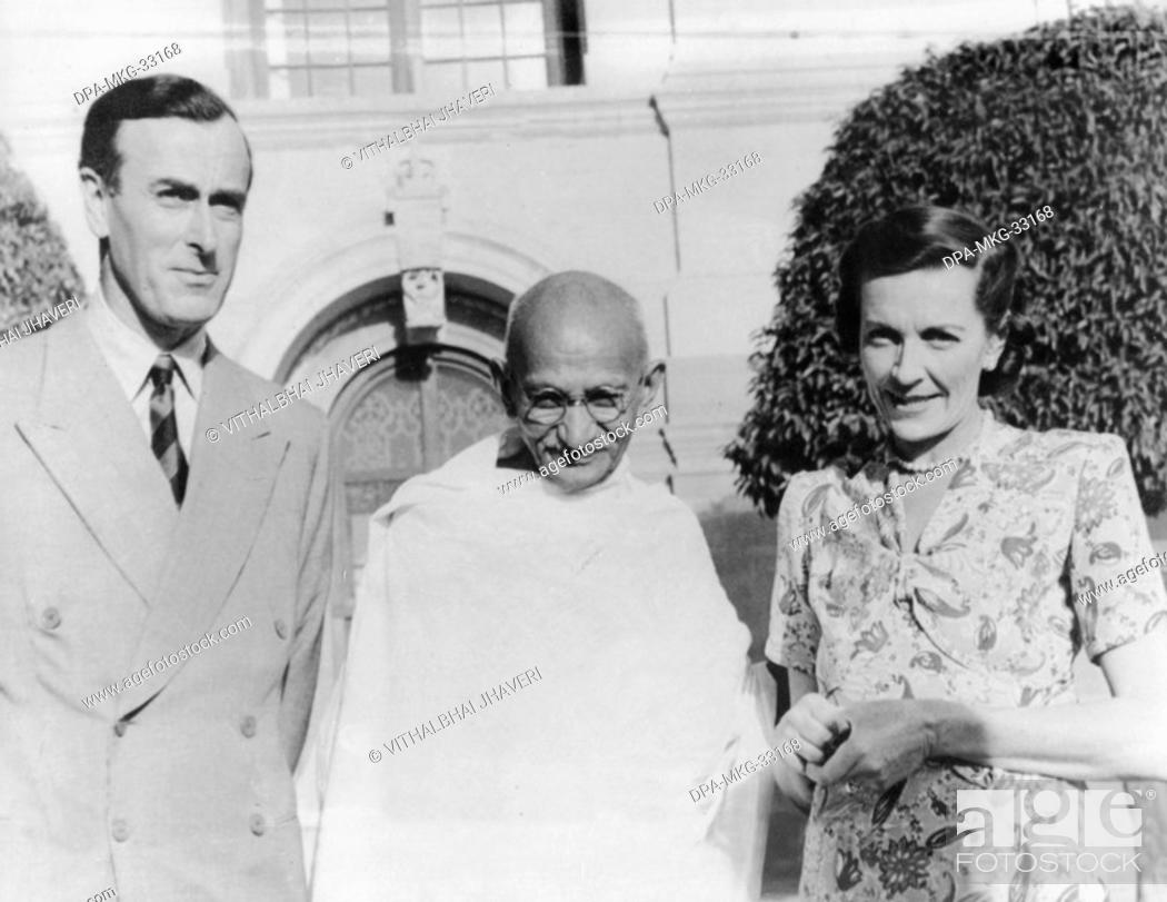 Stock Photo: Mahatma Gandhi at his first meeting with British Viceroy Lord Mountbatten and his wife, New Delhi, India, March 31, 1947 - MODEL RELEASE NOT AVAILABLE.