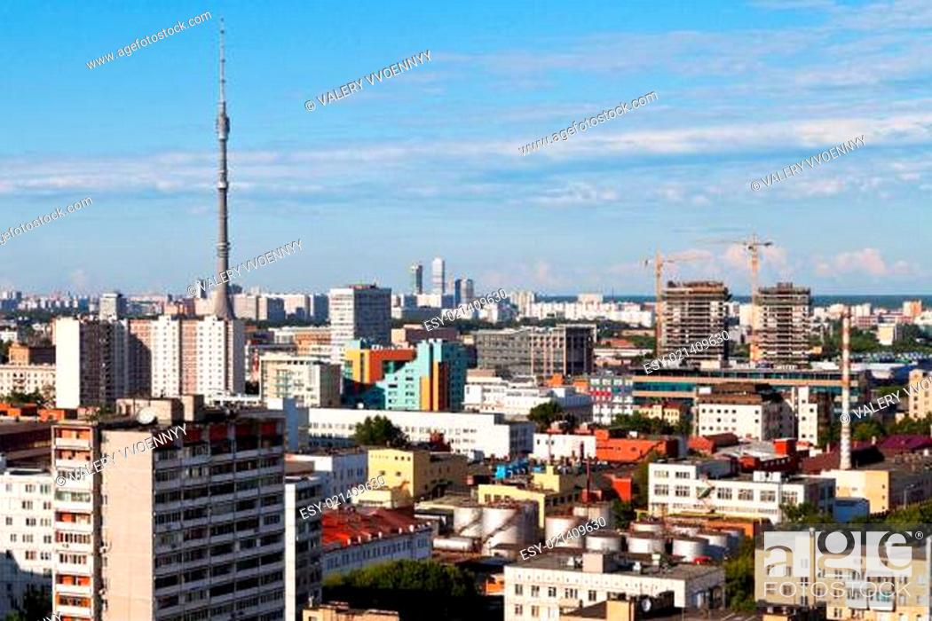 Stock Photo: panorama of Moscow with TV tower.