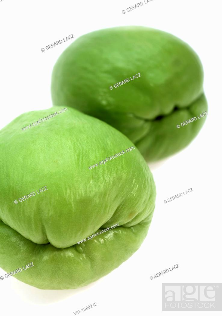 Stock Photo: Chayote, sechium edule, Mexican Fruit against White Background.