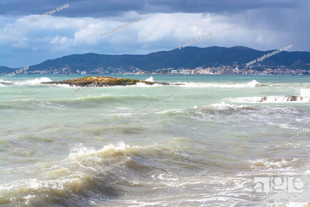 Stock Photo: Aqua colors on stormy Mediterranean Mallorca coast on a winter day.