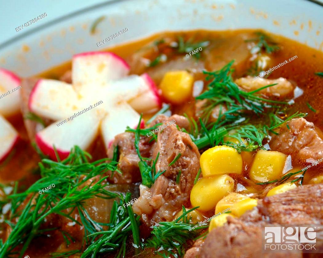 Stock Photo: Pozole traditional soup Mexico.broth rich soup made with pork, red chiles, radishes, cilantro.