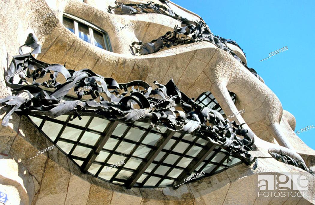 Stock Photo: Detail of the balconies of the main floor of Milà House, aka 'La Pedrera' (Gaudí, 1906-1912). Barcelona. Spain.