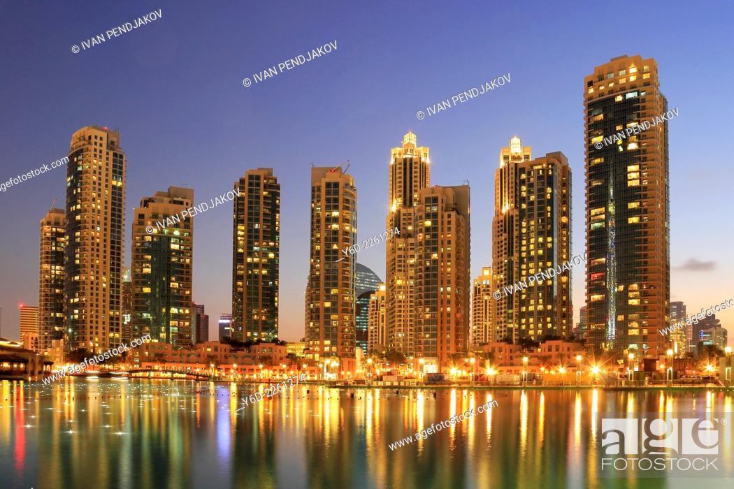 Stock Photo: Dubai Downtown at Dusk, United Arab Emirates.