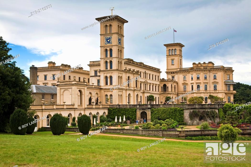 Stock Photo: View of the rear of Osborne House on the Isle of Wight in England.