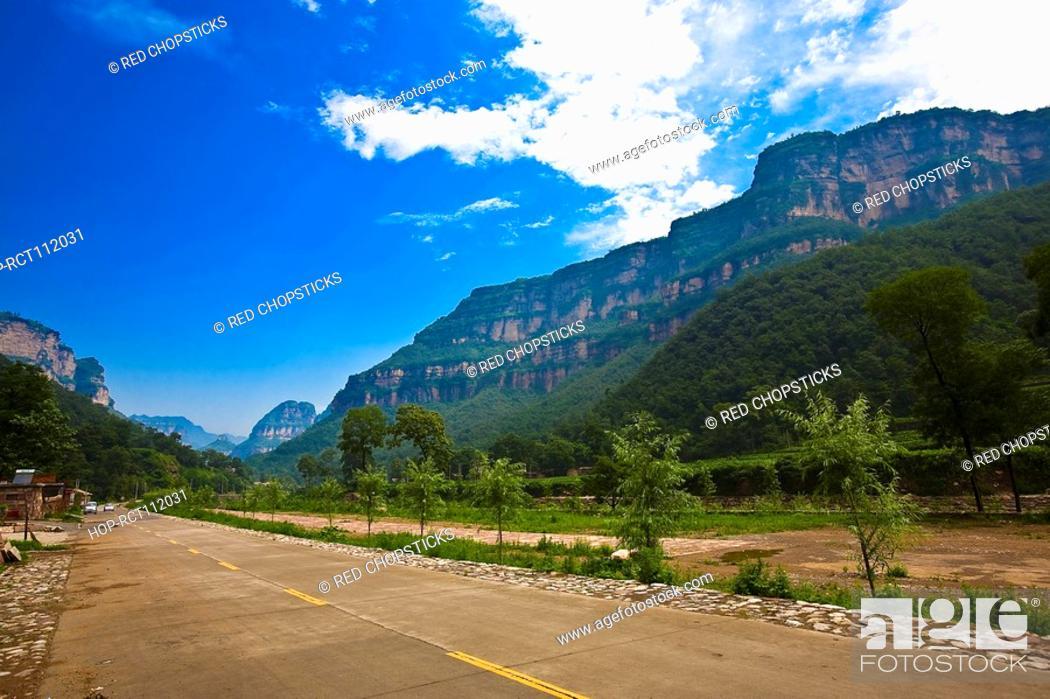 Stock Photo: Plants along a road, Taihang Grand Canyon, Henan Province, China.