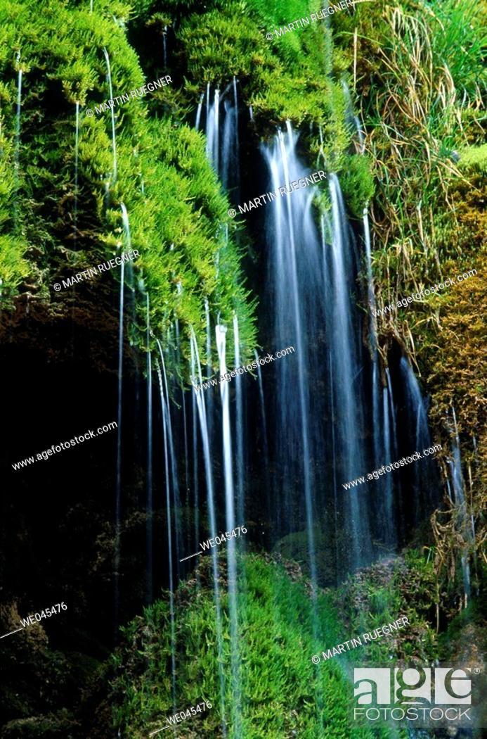 Stock Photo: Veil Falls, Ammer river near Saulgrub. Upper Bavaria, Germany.