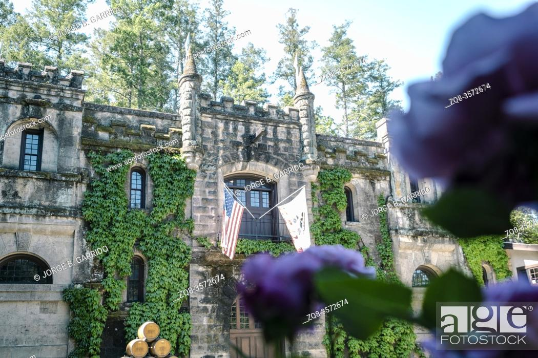 Stock Photo: Chateau Montelena Winery. Winery founded in 1882 in a castle with landscaped gardens, offering daily tastings & weekday tours. Napa Valley, California.