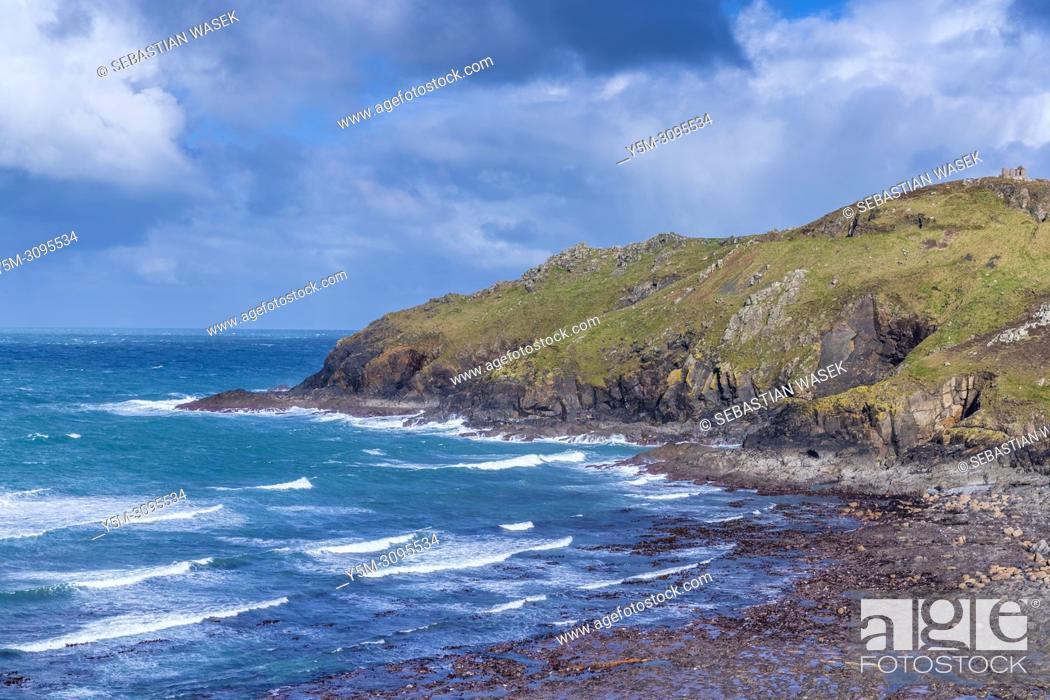 Stock Photo: Cape Cornwall, St. Just, Cornwall, England, United Kingdom, Europe.