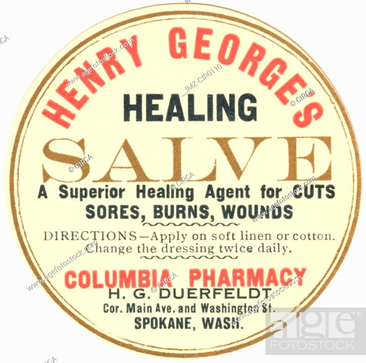 Stock Photo: A vintage label for healing salve.