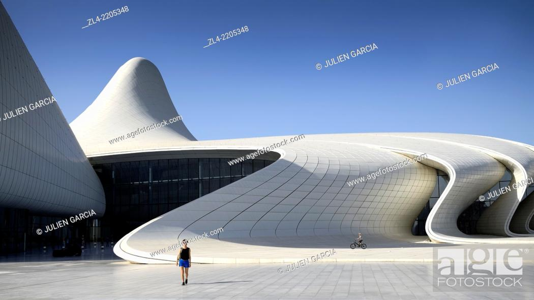 Stock Photo: Heydar Aliyev cultural center futuristic monument designed by the architect Zaha Hadid. Azerbaijan, Baku. Model Released.