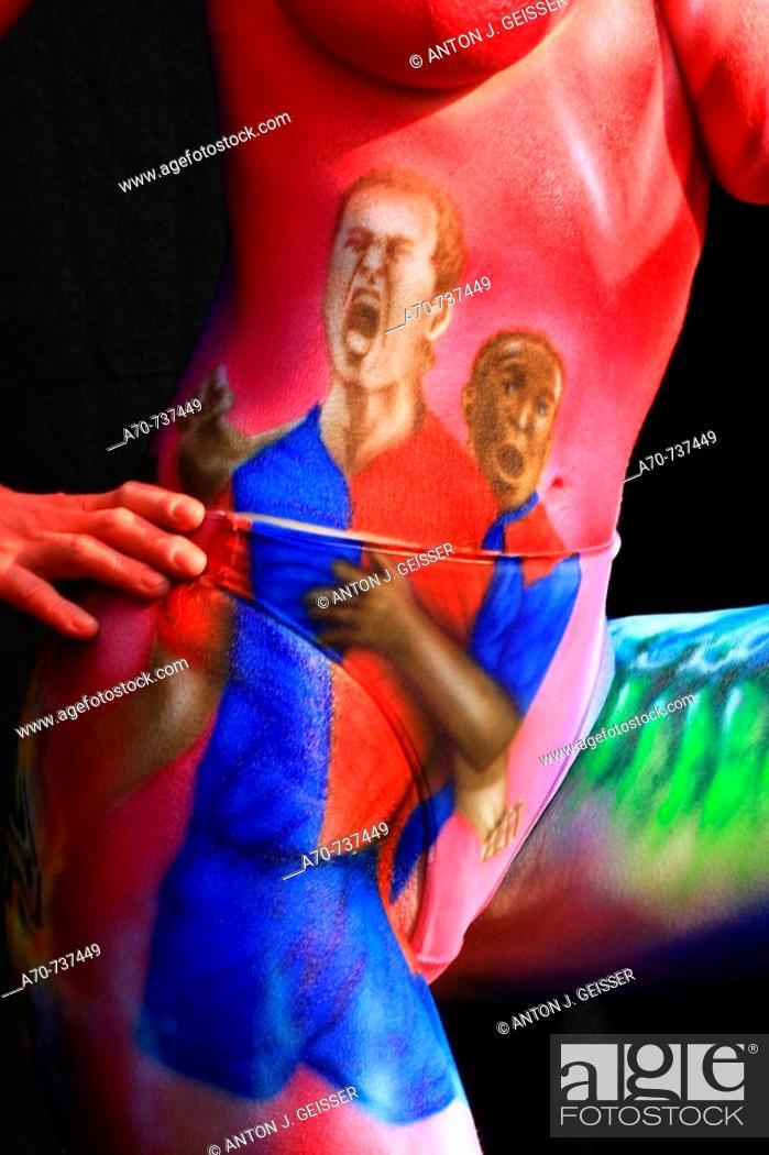 Stock Photo: Bodypainting contest. FC Basel Schweizer Meister 2007 /2008.  Airbrush by Melanie Badizadeh (Germany), Deutsche Meisterin Airbrush 2007.