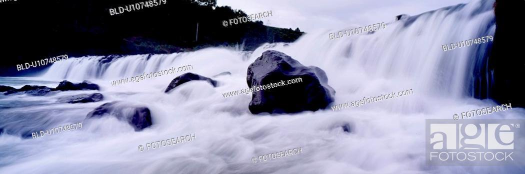 Stock Photo: rock, panorama, scene, landscape, nature, tree, panoramic view.