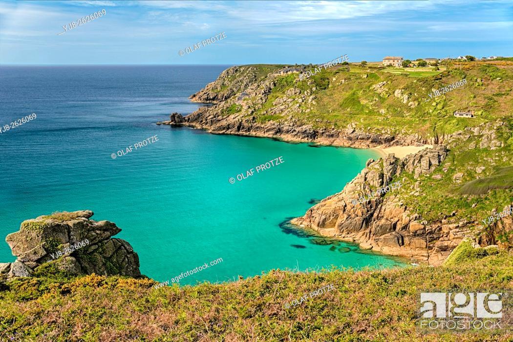 Stock Photo: View over the coastline near Porthcurno, Cornwall, England, UK.