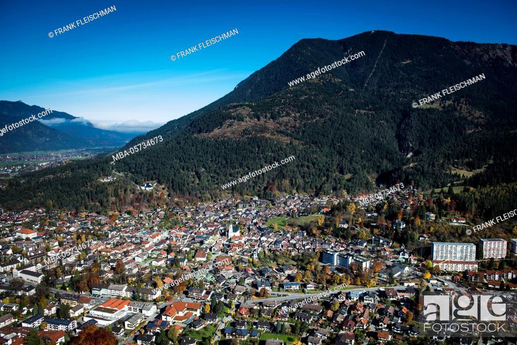 Stock Photo: Garmisch-Partenkirchen with Wank, autumn, aerial shots, Werdenfels, uplands, Bavaria, Germany.