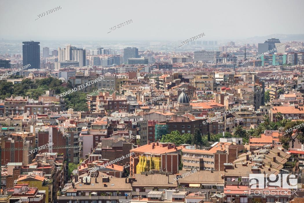 Stock Photo: Panorama of Barcelona city, aerial view from Park Guell.