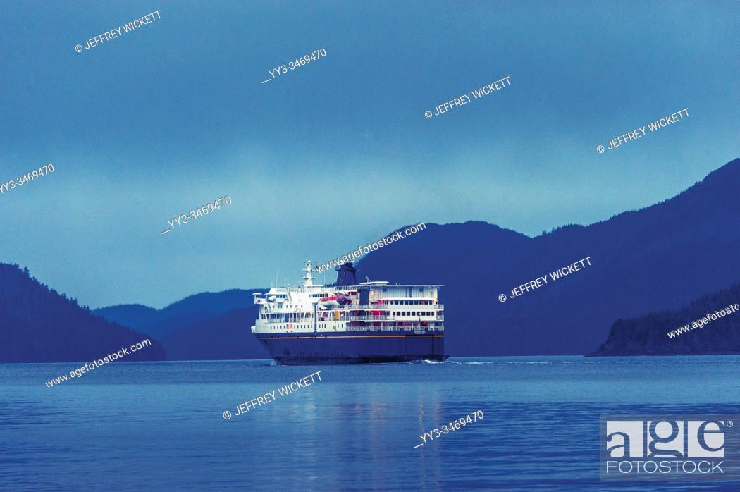 Stock Photo: The M/V Kennicott sailing out of the Sitka Terminal. Sitka, Alaska, USA. The Alaska Marine Highway System operates along the south-central coast of the state.